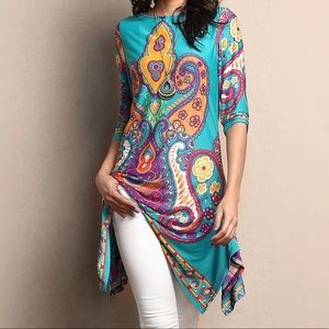Turquoise Sidetail Tunic